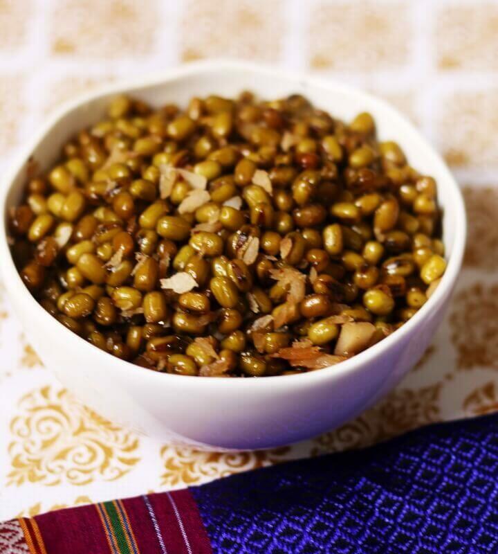 A bowl of Pachai Payaru Vella Sundal or the protein-rich, vegan Sweet Green Moong Sundal