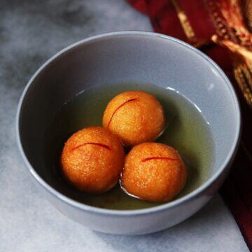 A bowl of spongy and delicious Suji ke Gulab Jamun for the festive season