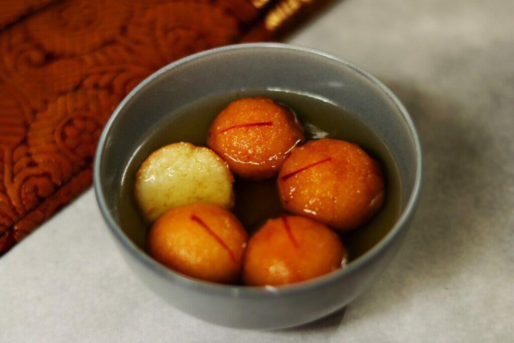 A Bowl of Suji ke Gulab Jamun: Gulab Jamun made with Suji or Semolina instead of Mava or Khoya