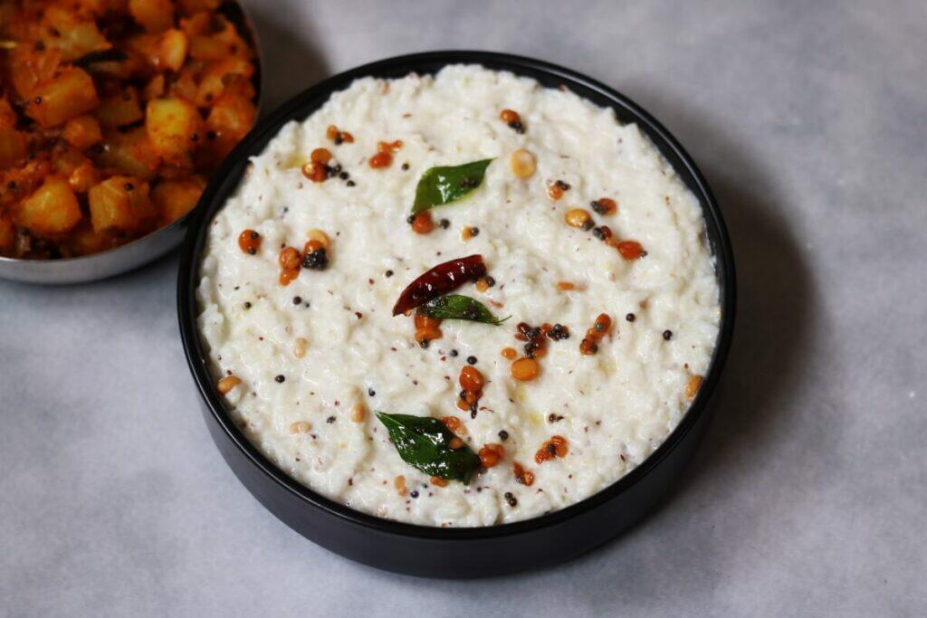 Ava Pettina Daddojanam is the classic Thayir Sadam flavoured with mustard powder