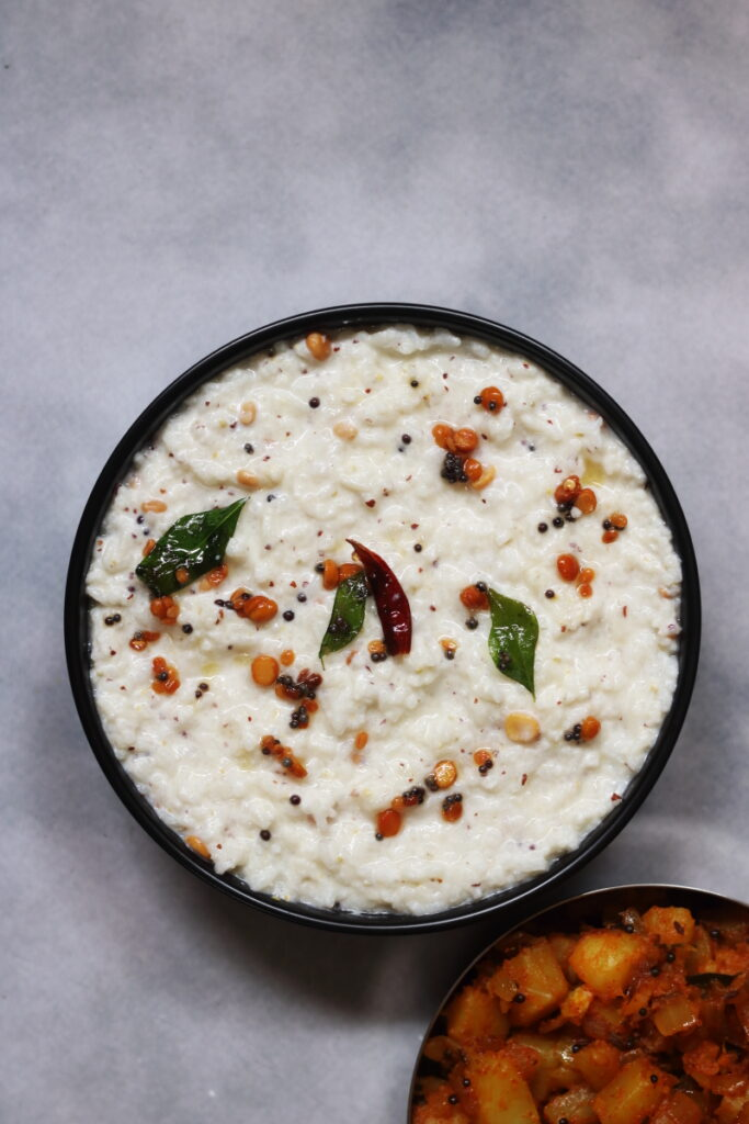A Bowl of Ava Petiina Daddojanam, the Andhra Curd Rice Flavoured with Mustard